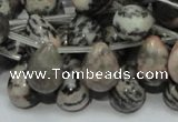 CZJ17 16 inches 10*14mm teardrop zebra jasper gemstone beads wholesale