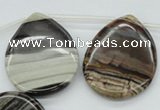 CZJ198 Top-drilled 30*40mm flat teardrop iron zebra jasper beads