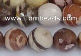 CZJ282 15.5 inches 12mm faceted round zebra jasper beads