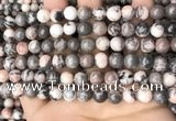 CZJ298 15.5 inches 8mm round pink zebra jasper beads wholesale