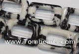CZJ454 15.5 inches 18*25mm rectangle donut black & white zebra jasper beads
