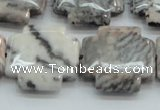 CZJ53 16 inches 25*25mm cross zebra jasper gemstone beads wholesale