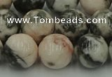CZJ555 15.5 inches 14mm round pink zebra jasper beads wholesale