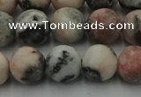 CZJ563 15.5 inches 10mm round matte pink zebra jasper beads