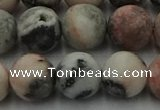 CZJ564 15.5 inches 12mm round matte pink zebra jasper beads