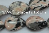 CZJ70 15.5 inches 18*25mm flat teardrop zebra jasper gemstone beads
