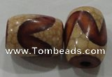 DZI39 2PCS 14*18mm drum loose Tibetan Agate Dzi Beads wholesale