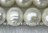 FWP123 15 inches 11mm - 12mm potato white freshwater pearl strands