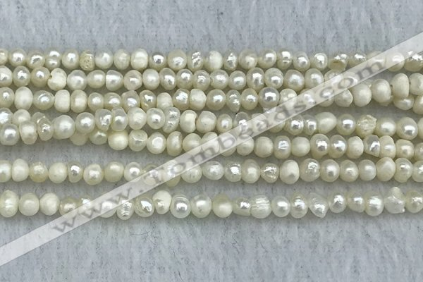FWP18 14.5 inches 3mm - 4mm potato white freshwater pearl strands