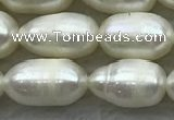 FWP187 15 inches 6mm - 7mm rice white freshwater pearl strands