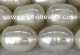 FWP201 15 inches 8mm - 9mm rice white freshwater pearl strands