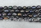 FWP288 15 inches 9mm - 10mm baroque black freshwater pearl strands