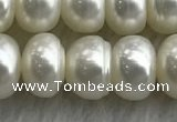 FWP324 15 inches 8mm - 9mm button white freshwater pearl strands
