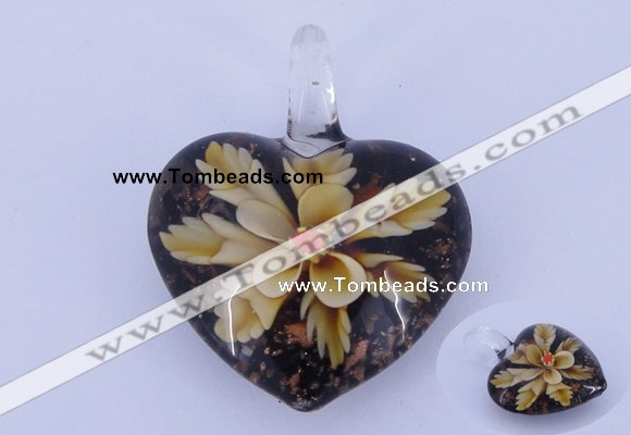 LP07 15*32*41mm heart inner flower lampwork glass pendants