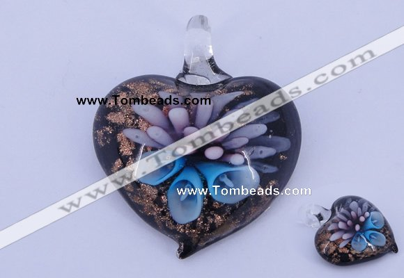 LP21 14*36*42mm heart inner flower lampwork glass pendants
