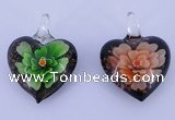 LP30 16*31*41mm heart inner flower lampwork glass pendants