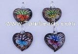LP31 12*35*44mm heart inner flower lampwork glass pendants