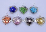 LP32 15*30*40mm heart inner flower lampwork glass pendants