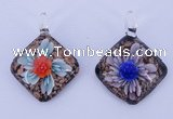 LP55 12*38*48mm diamond inner flower lampwork glass pendants