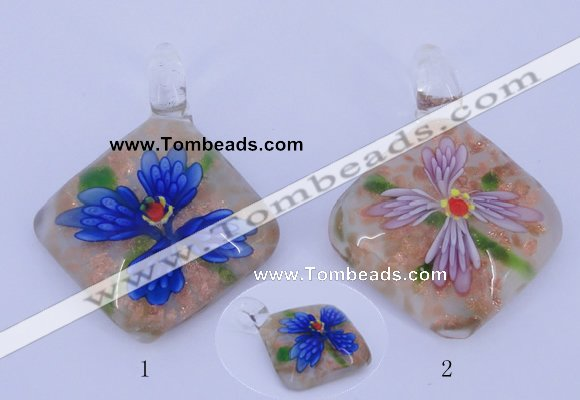 LP68 12*38*48mm diamond inner flower lampwork glass pendants