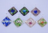 LP70 12*38*48mm diamond inner flower lampwork glass pendants