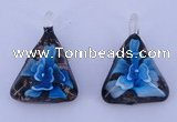 LP71 11*32*44mm triangle inner flower lampwork glass pendants