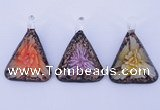 LP72 11*33*47mm triangle inner flower lampwork glass pendants