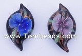 LP85 14*27*50mm leaf inner flower lampwork glass pendants