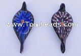 LP93 11*28*63mm leaf inner flower lampwork glass pendants
