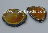 NGC1742 40*55mm - 50*65mm freeform agate gemstone connectors