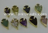 NGC5393 20*35mm - 25*40mm arrowhead mixed gemstone connectors