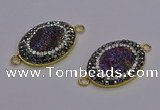 NGC5483 18*25mm oval plated druzy agate gemstone connectors