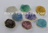 NGC568 18*25mm - 25*30mm freeform druzy agate connectors wholesale
