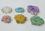 NGC606 15*20mm - 30*35mm freeform druzy agate connectors wholesale