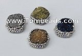 NGC634 24*25mm - 26*28mm freeform plated druzy agate connectors
