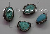 NGC7529 15*20mm - 18*25mm nuggets turquoise connectors wholesale