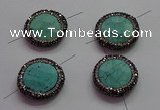 NGC7531 24mm faceted coin turquoise connectors wholesale