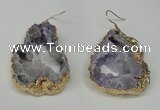 NGE29 30*35mm - 35*40mm freeform plated druzy agate earrings