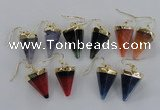NGE66 14*20mm - 15*22mm cone agate gemstone earrings wholesale