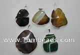 NGP1101 25*35 - 40*50mm freeform druzy agate pendants with brass setting