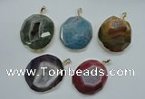 NGP1113 40*45 - 45*50mm freeform druzy agate pendants with brass setting