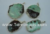 NGP1122 25*35 - 35*45mm freeform australia chrysoprase pendants with brass