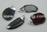 NGP1159 35*50mm - 50*70mm freeform agate pendants with brass setting