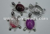 NGP1295 43*60mm tortoise agate pendants with crystal pave alloy settings
