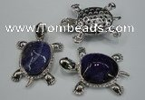 NGP1299 43*60mm tortoise agate pendants with crystal pave alloy settings