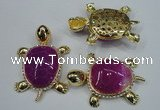 NGP1303 43*60mm tortoise agate pendants with crystal pave alloy settings