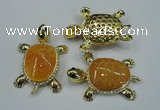 NGP1304 43*60mm tortoise agate pendants with crystal pave alloy settings