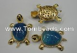 NGP1307 43*60mm tortoise agate pendants with crystal pave alloy settings