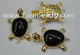 NGP1308 43*60mm tortoise agate pendants with crystal pave alloy settings