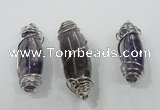 NGP1346 20*55mm - 22*60mm nuggets amethyst pendants with brass setting